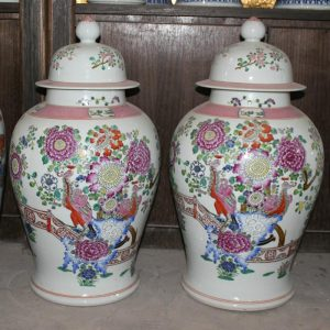 "RYZJ02 22.5"" Pair of hand painted famille rose floral bird porcelain vases"