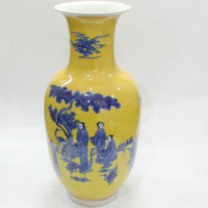 """RYZJ07 17"""" Yellow glazed blue painted Chinese ceramics vase"""