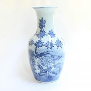 "RYZK04 16"" Blue and white painted floral bird porcelain vases"