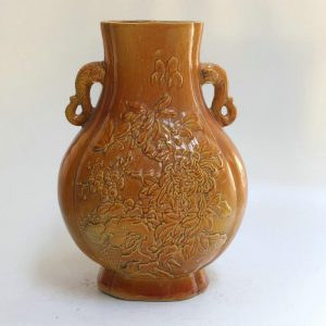 RYZL01 Chinese carved flower vases with elephant handles