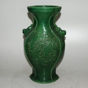 "RYZL06 12.8"" Green glazed carved floral Chinese vases ceramic"
