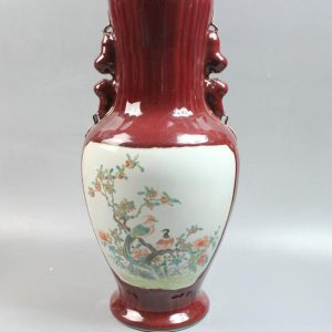 "RYZM01 16.5"" Chinese red glazed painted floral bird hand vase"