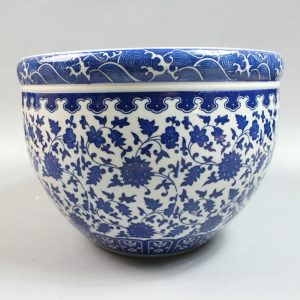 "RYZQ01 9"" Chinese blue and white flower pots"