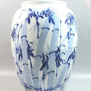 "RYZV01 20"" Chinese hand painted blue white bamboo ceramic Jars"