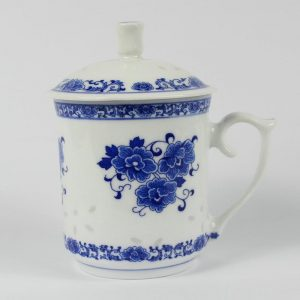 "RZAV01 5.9"" Blue and white rice pattern tea cups"