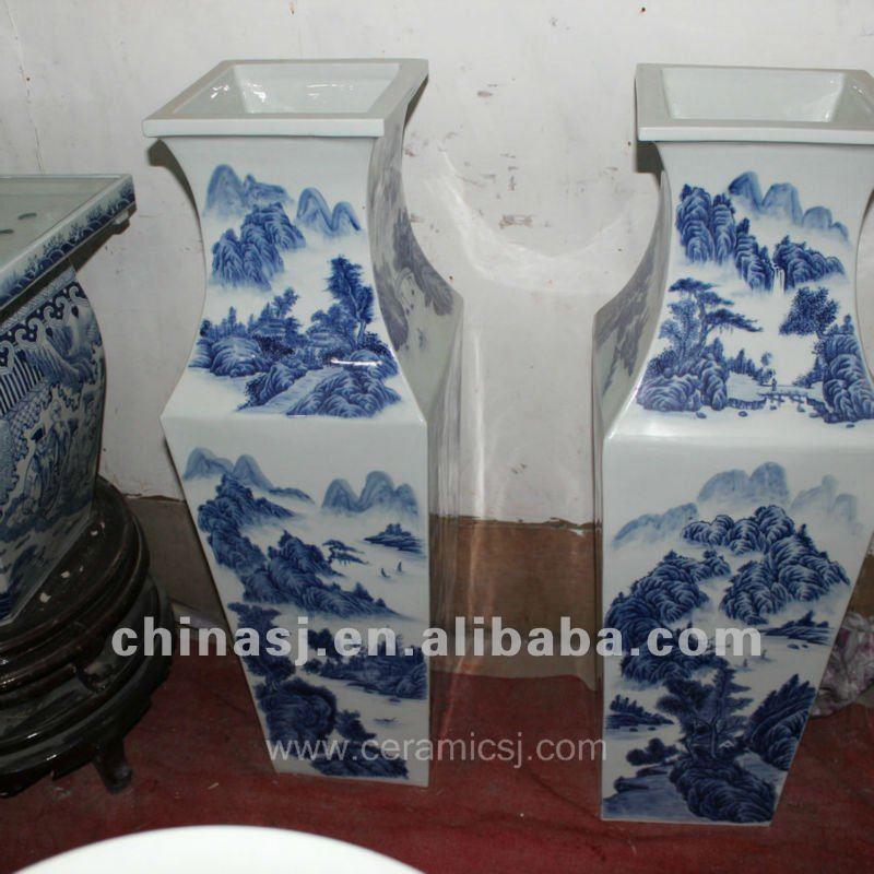 large blue white ceramic flower vase RYUZ04