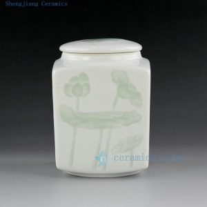 Jingdezhen celadon hand carved tea jars tea holder brush holder