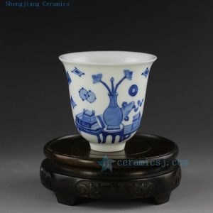 hand made painted Jingdezhen blue white porcelain tea cup