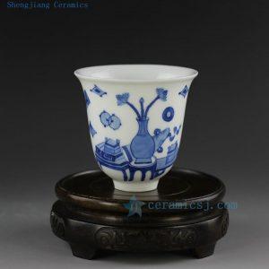 hand made painted Jingdezhen blue white porcelain tea cup