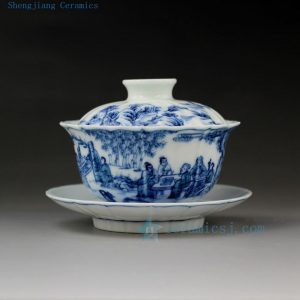 hand made painted Jingdezhen blue white porcelain gaiwan