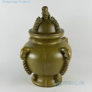 "RYNA08 14"" Ceramic Jar with foo dog lid cover"