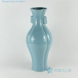 "RYNA09 H15.7"" Jingdezhen solid color blue porcelain vase with handle"