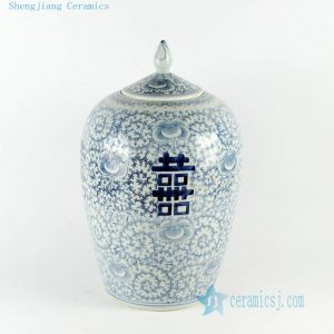 "RYVM22 14"" Jingdezhen blue white double happiness porcelain melon Jar with floral design"