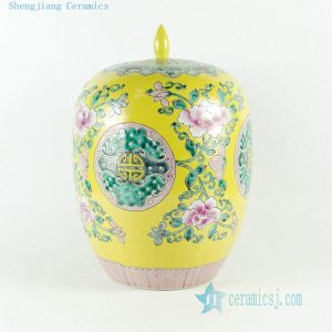 RYQQ51 Hand painted famille rose porcelain melon Jar with floral design