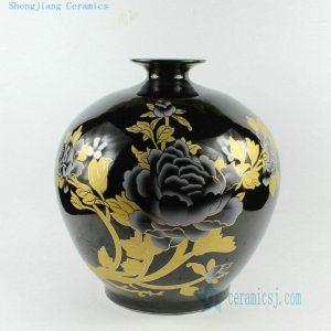 """RZAU02 H15"""" Jingdezhen black floral porcelain vase"""