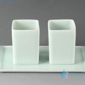 Jingdezhen hand made tea mugs and tray