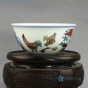 RYZ154 blue white doucai painted chicken tea cups