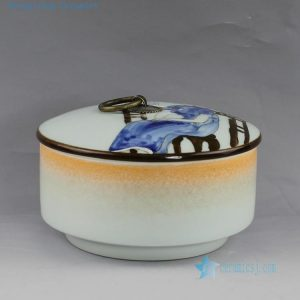 hand made painted Jingdezhen porcelain tea jars