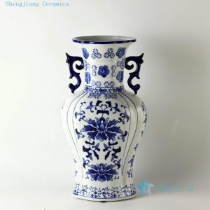 "RZCW03 14.5"" Blue and white floral design ceramic vases with handle"