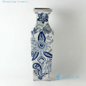 "RZCW04 16"" Blue and white floral design crackle ceramic vases"
