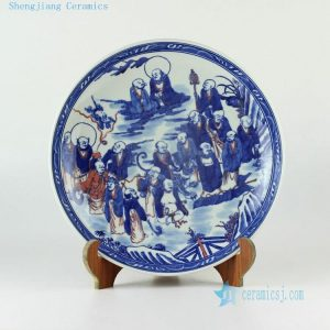 "14"" Hand painted blue and white Chinese decor plates"