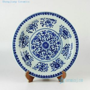 "16.3"" Hand painted Chinese decor blue and white plates"
