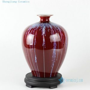 "RZCN06 10.6"" Ceramic Chinese vase oxblood red"