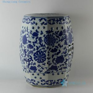 "RYLU17 H17.5"" Hand painted garden blue and white oriental stools floral design"