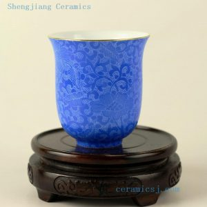 Hand needle painted Jingdezhen porcelain tea cups different colors