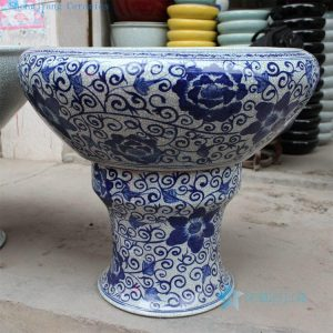 "RYHD23 D28.7"" Crackle glazed blue and white ceramic planters"