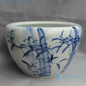"RYYY17 16"" Ceramic blue white planters bamboo design"