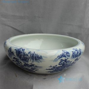 "20.8"" Chinese blue white fish bowls"