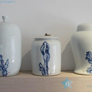 Ceramic blue painted vases and jars