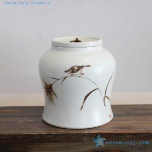 2U08 Ceramic matte finished painted vases and jars