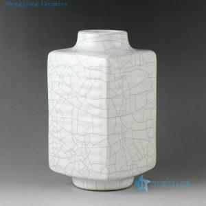 "RYZR05 12.5"" Crackle white porcelain vase"
