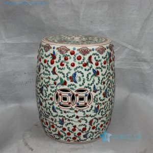 "RZCX04 15.7"" Famille rose white floral butterfly Chinese garden stool"