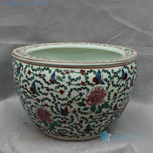 "RZCX06 15.7"" Ceramic white famille rose planters floral design"
