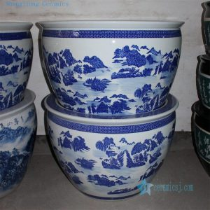 "RZDE01 28.3"" Blue white landscape design ceramic fish bowls"