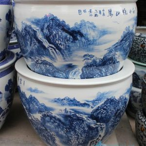 "RZDE07 28.3"" Chinese hand painted landscape blue white planters"