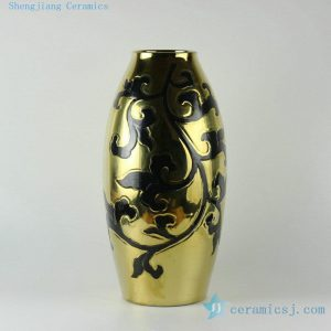 "RYNQ169 19"" Gold and silver ceramic vases"