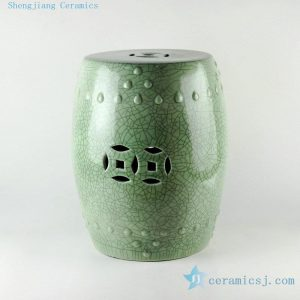 "RYYV03 17"" Green crackle ceramic outdoor end tables"