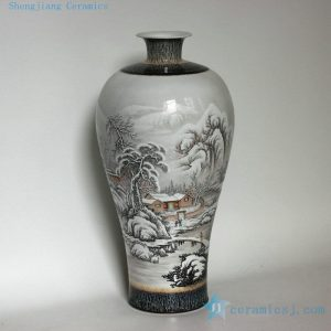 "RZDJ01 18.8"" High quality hand painted snow scenes porcelain vases"