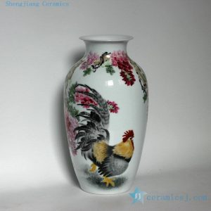"RZDK01 17"" High quality hand painted rooster floral porcelain vases and wall decor"