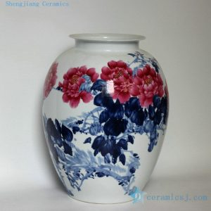 "RZDL01 17"" High quality hand painted blue white with red flower porcelain vases"