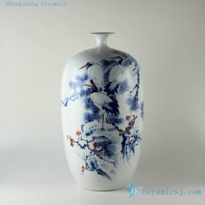 "RZDN02 21.5"" High quality blue and white hand painted pine bamboo plum and crane porcelain vases"
