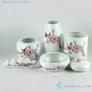 Porcelain pink peach blossoms design tea and coffee sets and stationery set