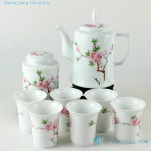 Porcelain hand painted pink peach blossoms design tea sets