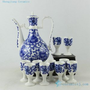 Porcelain blue white floral design wine sets
