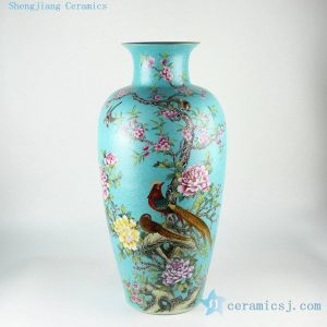 "RYHV34 24.4"" Jingdezhen high quality hand painted blue needle painting floral bird vases"