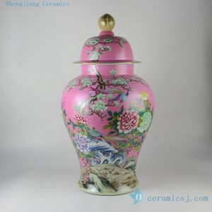 "RYHV35 22.4"" Jingdezhen high quality hand painted pink needle painting floral bird ginger jar"